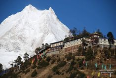 Mount Manaslu (8,156 m) from Lho Gaon village, Nepal