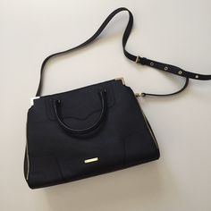 """Rebecca Minkoff amorous satchel black and gold Gorgeous Rebecca Minkoff """"amorous"""" in black saffiano leather with striking gold hardware. Bought off Posh NWT and only carried it once! I do not have a dust bag for this unfortunately. Please submit any offers through the offer button. No trades. Rebecca Minkoff Bags Satchels"""