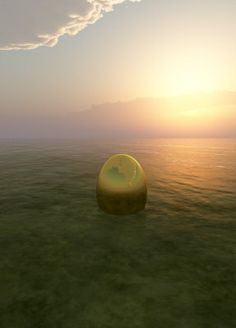 """(2): As soon as earth woke up it turned the universe into an immensely large ocean. Deep in the ocean, it cradled a single seed which floated to the surface and turned into a big beautiful golden egg. As the egg ebbed in the water the """"Om"""" sound would cradle and comfort it. As the egg embedded its self in the ocean floor, it formed itself into Brahma, the God of the worlds."""