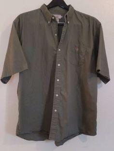 U.S Polo Assn Short Sleeve Button Down Shirt 100% cotton Green 2XLT Tall Solid #USPoloAssn #ButtonFront