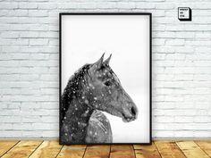 horse art print black and white art print black and by PrintmyInk
