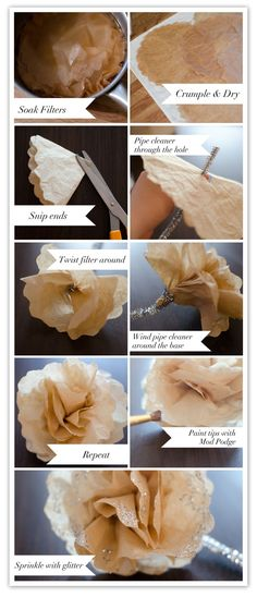 coffee filter flowers. also easy to do in other colors.