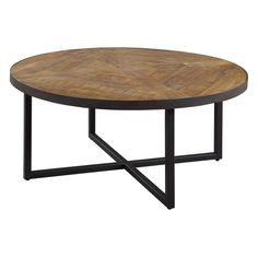 Emerald Home Denton Antique Pine Round Coffee Table with Round, Pieced Top And Metal Base (Denton Rustic Round Cocktail Table), Brown, Emerald Home Furnishings Pine Coffee Table, Cool Coffee Tables, Pine Table, End Tables, A Table, Table Dimensions, Cocktail Tables, Living Room Furniture, Pallets