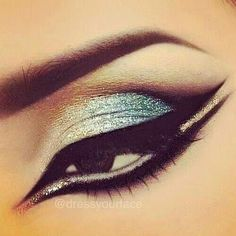 Cut crease eye makeup. Love this look! Notice the white inside the bottom lid? To make eyes look bigger. Don't forget to darken those brows.