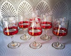 Vintage wine glasses Mid century glasses Ruby glass Gold