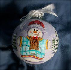 Hand Painted Christmas Ornament Original Art by IrenesArtwork, $25.00