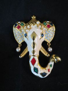 Kenneth Jay Lane MAHARAJAH INDIA Enamel Rhinestone Elephant Head Brooch