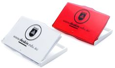 red & white plastic business card case