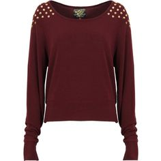 Wine Jumper with Gold Spiked Shoulders ($32) ❤ liked on Polyvore