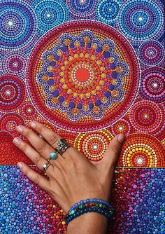 Elspeth McLean I don't know how she made it, but it made me realize colored thumbtacks would be excellent for sacred pieces.