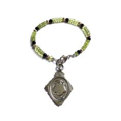 Beaded Charm Bracelet Peridot Stacking Bracelet by FribblePistol