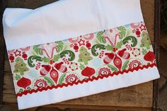 Christmas Towel Red and Green Kate Spain Flurry by TerraceHill