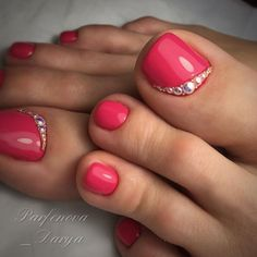 What Christmas manicure to choose for a festive mood - My Nails Pretty Toe Nails, Cute Toe Nails, My Nails, Toe Nail Color, Toe Nail Art, Nail Colors, Acrylic Nails, Summer Toe Nails, Nail Polish