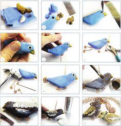Урок - кулон птичка из пластики — Книги и мастер-классы по лепке из полимерной глины