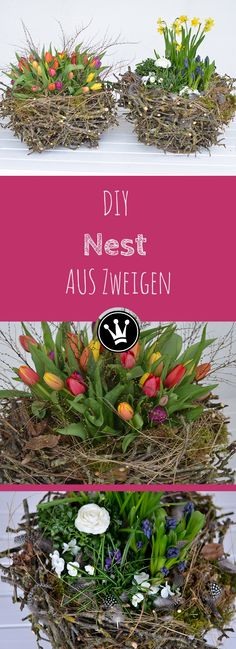 DIY - make spring decorations / Easter decorations yourself I XXL nest from branches I decorate with spring flowers - Here I show you a great spring decoration! An XXL nest of branches that you can easily make from br - Easter Garden, Easter Tree, Deco Floral, Autumn Trees, Tree Decorations, Spring Decorations, Spring Flowers, Happy Easter, Flower Arrangements