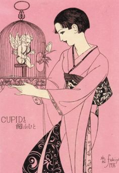 Japanese Illustratior 蕗谷虹児 Koji Fukiya (1898-1979), ca. 1935, Cupidon.