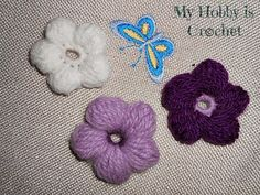 My Hobby Is Crochet: 5 Petals Cluster Flower- Free Pattern with Phototutorial and Chart