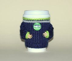 Seattle Seahawks coffee cozy. NFL Washington Blue gray green Knit cup sleeve Football fan travel mug cozy Office coffee Starbucks cup holder