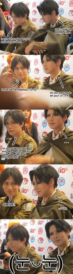 Levi Rivaille and Eren Jaeger Smile, Heichou! I'm not really interested with cosplayers but omg this is so friggin cute