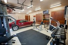Crossfit Garag Gym Coupled With A Classy Muscle Car Heavy Dumbbells And Motors