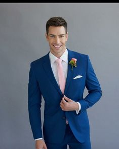 Mens Bright Blue Suit Royal Blue Single Breasted Button Worsted Suits Groom Wear Wedding Suit Blazer Jacket Custom Made Royal Blue Dress Suit Formal Wedding, Wedding Men, Wedding Attire, Wedding Styles, Trendy Wedding, Wedding Beach, Groom Wear, Groom Attire, Fitted Wedding Suits