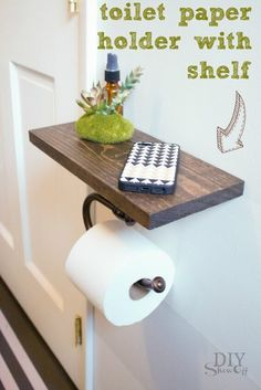 DIY+toilet+paper+holder+with+stained+wood+shelf+provides+space.