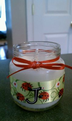 Homemade candle in a babyfood jar