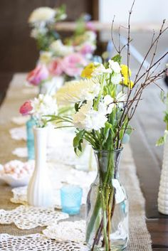 rustic vintage baby shower table burlap runners and doilies