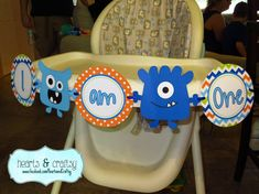 Monster Party I AM ONE Highchair Banner by HeartsandCraftsy