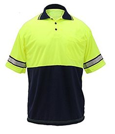 First Class Two Tone Polyester Polo Shirt with Reflective Stripes Lime Yellow/Navy at Amazon Men's Clothing store: