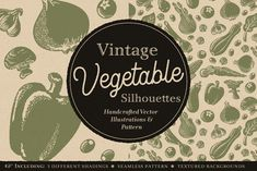Vintage Vegetable Silhouettes by Illubelle on @creativemarket Vector Background, Textured Background, Vintage Recipes, Vintage Food, All Silhouettes, Kitchen Humor, Silhouette Vector, Different Textures, Pattern Illustration
