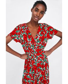 Image 2 of PRINTED CROSSOVER DRESS from Zara Thierry Godard, Zara, Wrap Dress, Floral Prints, Fabric, Pattern, Print Wrap, Clothes, Crossover