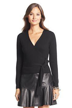 Ballerina Wool Wrap Sweater In Black