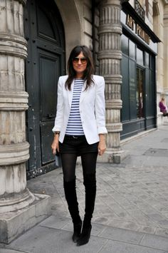 White Blazer + Striped Tee + Black Shorts + Black Tights/Boots