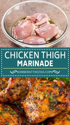 This chicken thigh marinade is a savory blend of fresh herbs, garlic, olive oil, lemon and seasonings. The marinade can be used for grilled, broiled or baked chicken thighs with perfect results every time! Easy Chicken Dinner Recipes, Instant Pot Dinner Recipes, Healthy Chicken Recipes, Turkey Recipes, Cooking Recipes, Gourmet Chicken, Baked Chicken, Bee Food, Slow Cooker Chicken Thighs
