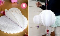"""Paper doily """"pom-poms"""" all you need is small doilies, yarn, needle and beads for decoration. Doilies Crafts, Paper Doilies, Paper Lace, Diy Projects To Try, Craft Projects, Craft Ideas, Diy Paper, Paper Crafts, Ideas Party"""