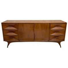 American Mid Century Modern Walnut Sideboard ca1960