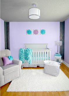Lilac and gray nursery with pops of aqua - very colorful, yet chic.
