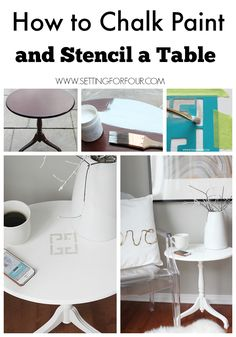 How to Chalk Paint and Stencil a Thrift Store Table - DIY Tutorial and supply list included! www.settiingforfour.com