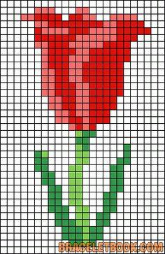 Spring tulip Hama bead or cross stitch pattern. Cross Stitch Cards, Cross Stitch Flowers, Cross Stitching, Bracelet Patterns, Beading Patterns, Embroidery Patterns, Learn Embroidery, Cross Stitch Embroidery, Cross Stitch Designs