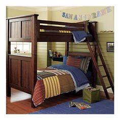 Bunk beds for big boys. Kids' Bunk Beds: Kids Twin Stained Chocolate Brown Beadboard Bunk Bed in Bunk Beds Above Bed, Kids Bunk Beds, Kids Bedroom, Bedroom Ideas, Baby Store, Crate And Barrel, Kids Furniture, Crates, Bed Ideas