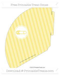 Free Pastel Yellow Diagonal Striped Diaper Pin Treat Cone