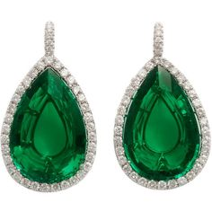 1STDIBS.COM Jewelry & Watches - Striking Emerald Diamond Earrings -... ❤ liked on Polyvore featuring jewelry, earrings, brincos, украшения, emerald diamond jewelry, emerald jewelry, diamond earring jewelry, diamond jewelry and earring jewelry
