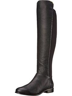 Cole Haan Women's Dutchess OTK Motorcycle Boot, Black Leather, 8 B US ❤ Cole Haan Footwear Womens