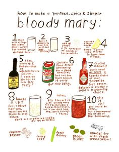 'how to make a bloody mary' (print) fun to frame for a brunch as tabletop decor