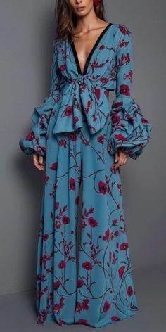 Mono de moda  Fashion Jumpsuit   Mono sexy con cuello en v y estampado floral con cintura elástica, varios estilos y colores para ti, envío gratis a pedido $ 69 +, ¡compra ahora! #mujer #jumpsuit #floral #azul   #de #moda #mono