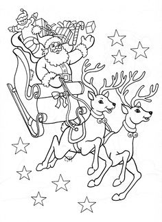 Printable santa and reindeer coloring pages ~ Dibuixos per pintar on Pinterest   Coloring Pages, Farm Coloring Pages and Coloring