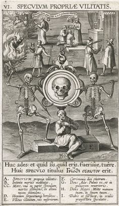 """Speculum propriae vilitatis"" [the Mirror of One's Own Worthlessness] engraved as one of 12 mirror plates bt Theodoor de Bry issued 1610. This is via the Rijksmus. RP-P-OB-6757."