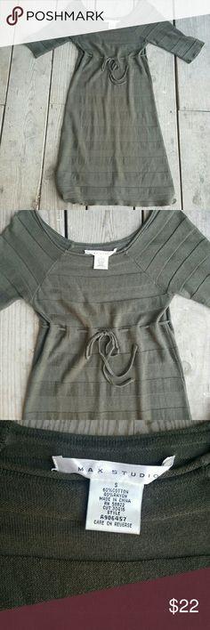 Max Studio dress rayon/ cotton, small, olive green, excellent condition Max Studio Dresses Midi