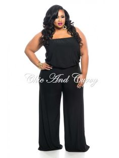 f8aaac275bd New Plus Size Strapless Jumpsuit with Wide Legs in Black 1x 2x 3x Strapless  Jumpsuit